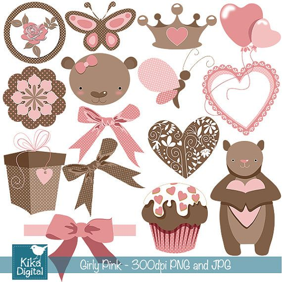 Girly Pink and Brown Digital Clipart