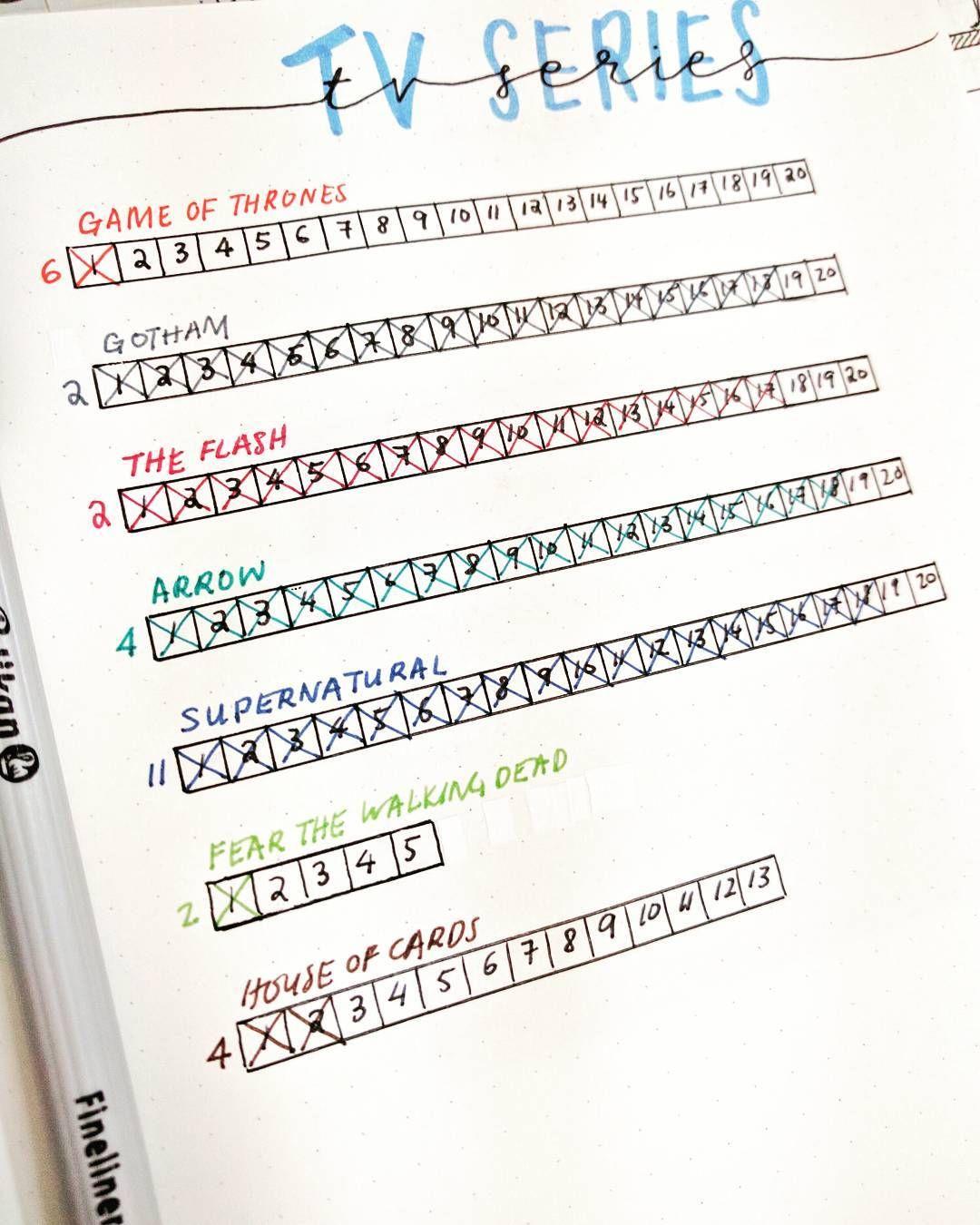 """Egy egyszerű módja követni, hogy hol tartasz valamilyen """"feladattal"""", hogy felírod a leckéket, a lépéseket, jelen esetben a részek számát. Nem csak TV sorozatok esetében lehet használni ezt a megoldást."""