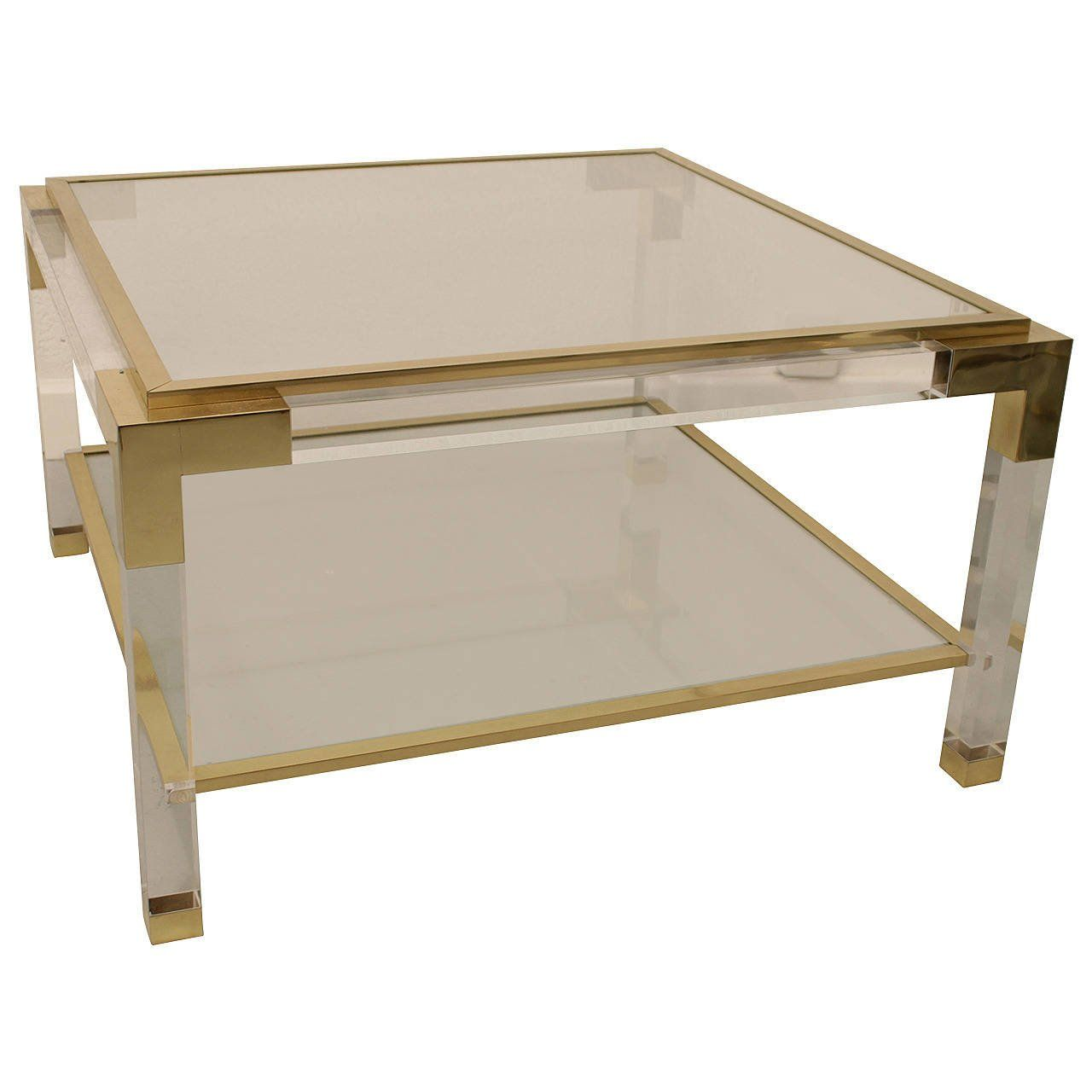 - Vintage Lucite, Brass And Glass Coffee Table Table Furniture