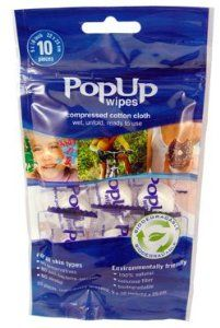 "Popup Towel - Mini Wipes - Bag of 10 by PopUp Towels. $5.25. No Alcohol , Preservatives, or artificial scents added and does not contain Anti-Bacterial Agents. Each package is re-sealable, and contains 10 individually wrapped wipes. 100% Natural, Biodegradable Compressed 9"" by 10"" Wipes. Perfect for hundreds of uses, wherever you go: at Home, at work, or on the go.. PopUp Towels are perfect for any use. These all natural, environmentally friendly towels are saf..."
