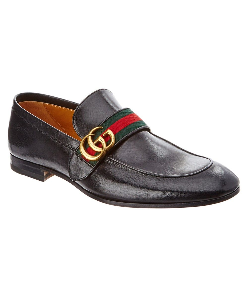 e59336ba1a6 GUCCI Gucci Leather Loafer With Gg Web .  gucci  shoes  loafers ...