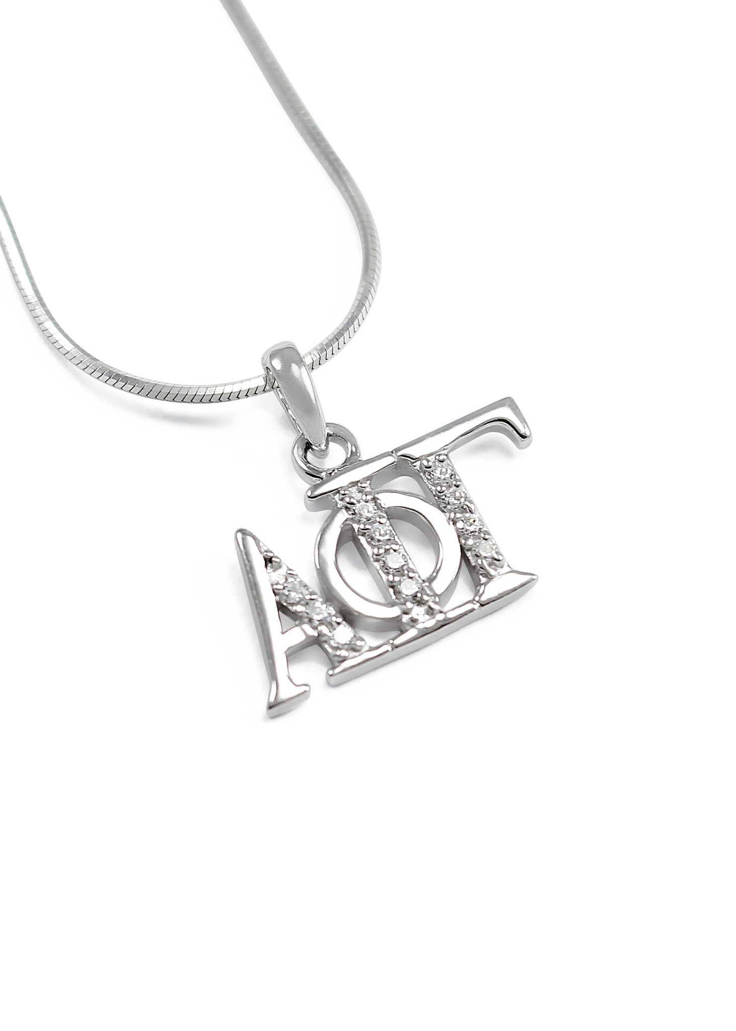 Alpha Phi Gamma Horizontal Lavaliere with Lab-Created Diamonds