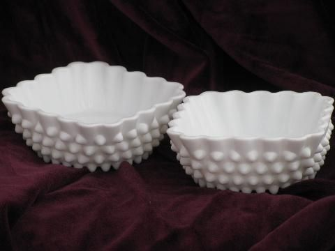 vintage Fenton hobnail milk glass candy / pickle dishes, square bowls