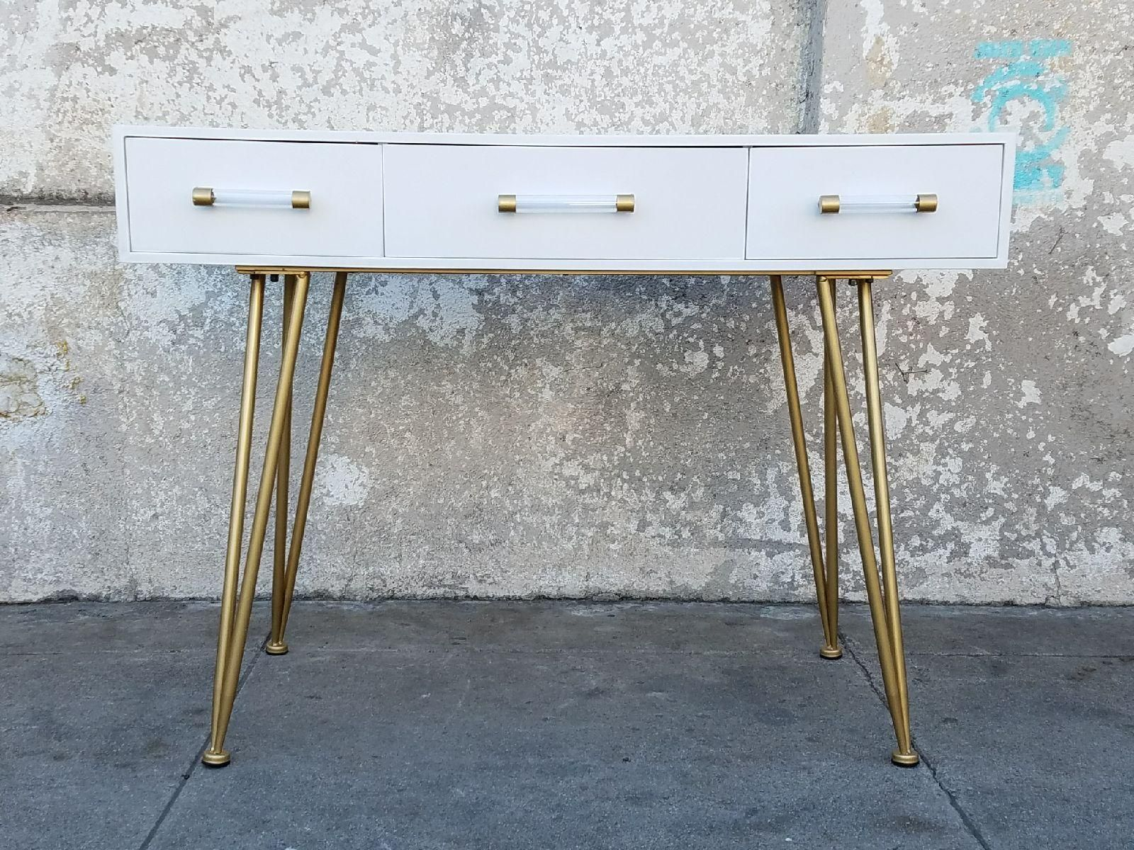 Where Can I Find You Modern White Gold 3 Drawer Desk With