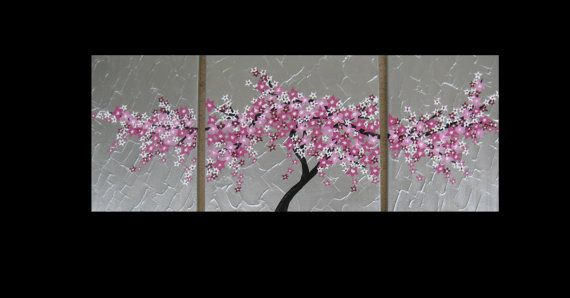 Pin By Unique Fabric Gifts On Original Art Cherry Blossom Painting Abstract Canvas Art Tree Painting