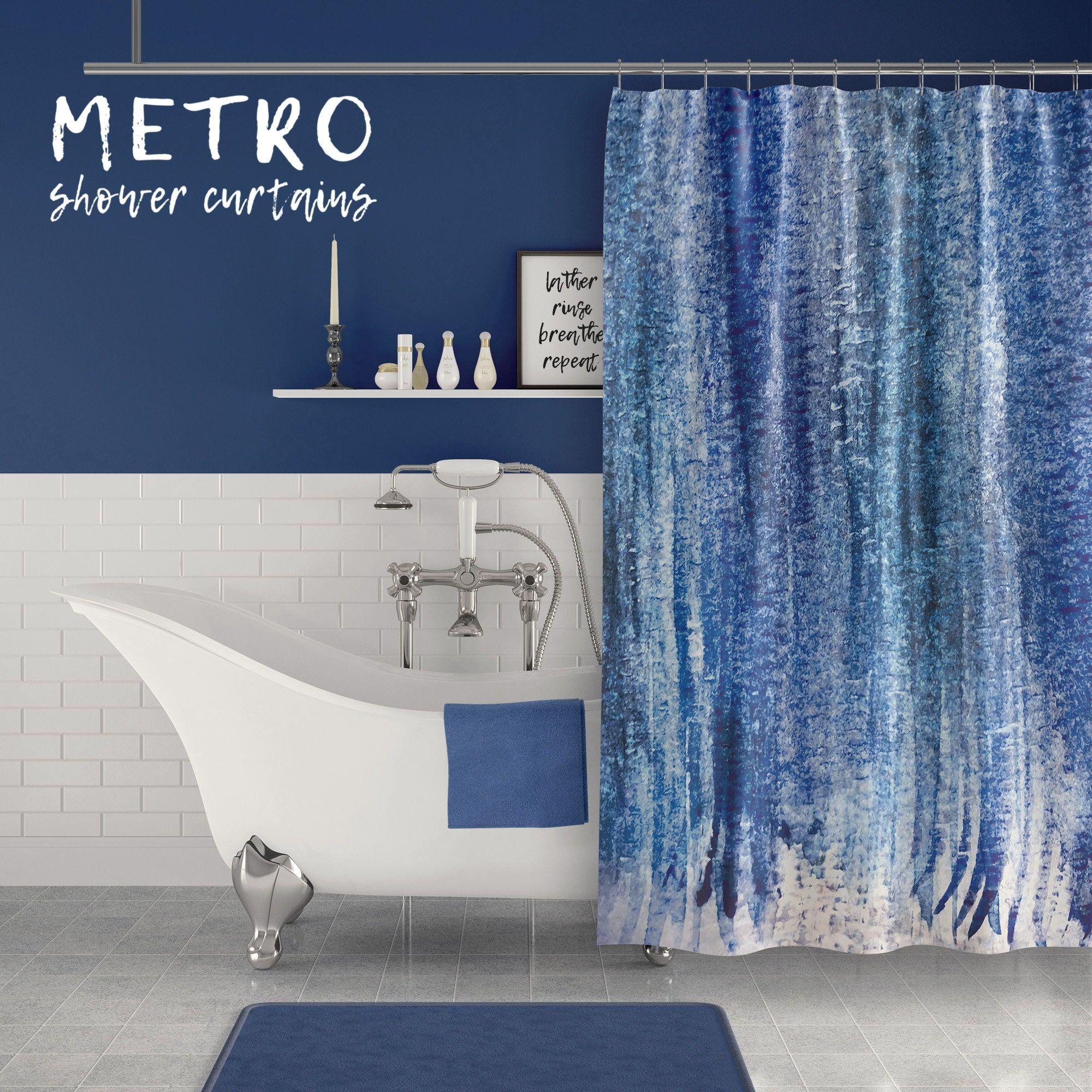 Dark Blue Abstract Watercolor Stripes Contemporary Coastal Shower Curtain Designer Shower Curtains Watercolor Shower Curtain Blue Bathroom