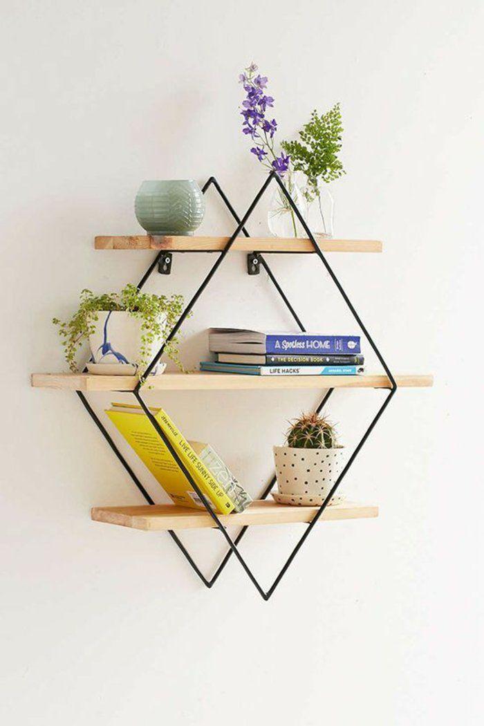 Fantastisch Regal Bauen Aus Metall Und Holzstüchen Pflanzen Bücher Blumen Blumentöpfe