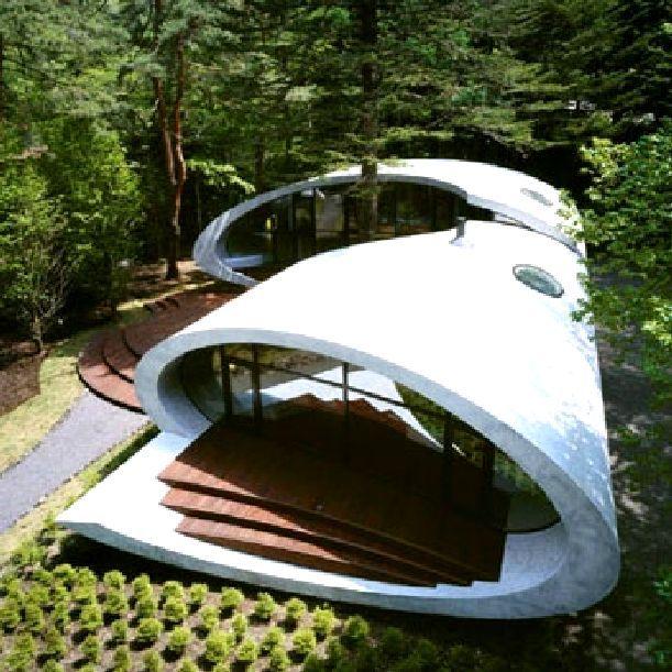 garden futuristic house design, photo garden futuristic house