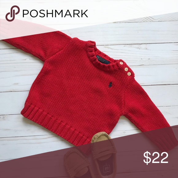 8097fce923a8 Ralph Lauren Infant Cable Knit Sweater 9 Month Ralph Lauren Red ...