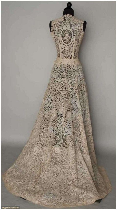 The Dress Is A 1940s Brussels Mixed Vintage Lace Wedding Gown Which Has Possible Been Made