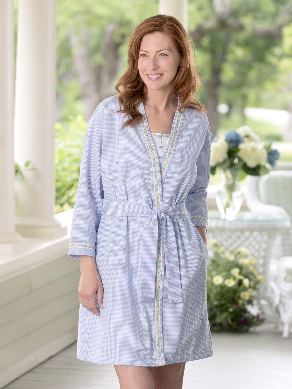18dc410f3 Lanz Heart-Trim Seersucker Short Robe | Just Women | Short robe ...