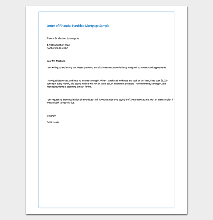 Sample Letter of Financial Hardship Mortgage - Sample