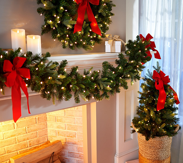 Bethlehem Lights Overlit Garland Or Stake Tree With Red Bow Qvc Com Christmas Banister Bethlehem Lights Christmas Deco