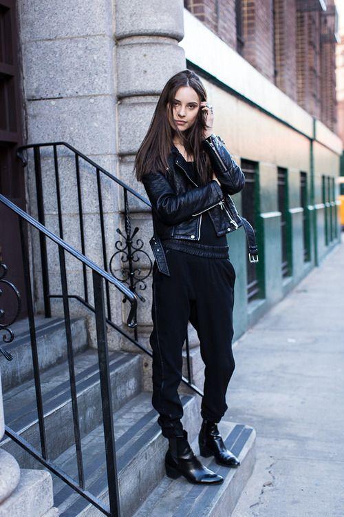 Black harem pants, loose top, leather jacket, booties | My ...