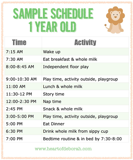 Sample schedule for one year old parenting is difficult but  your kids can be very helpful heart of deborah also menu libby lou baby rh pinterest