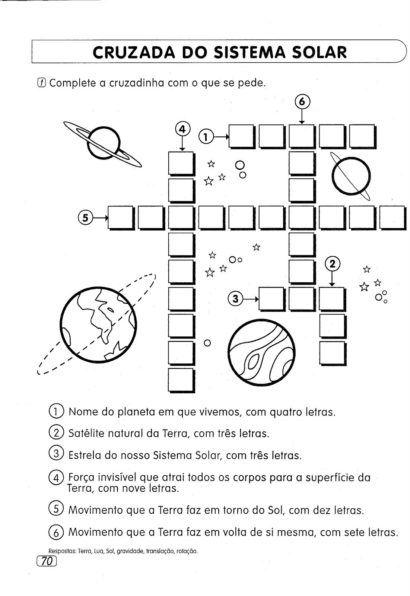 Atividades Sobre O Sistema Solar Para Estudo Das Ciencias