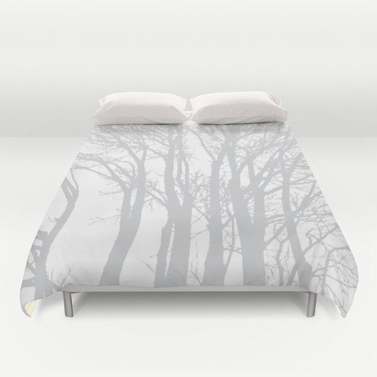 Modern Trees Duvet Cover Grey And White Tree Branches Woodland Rustic
