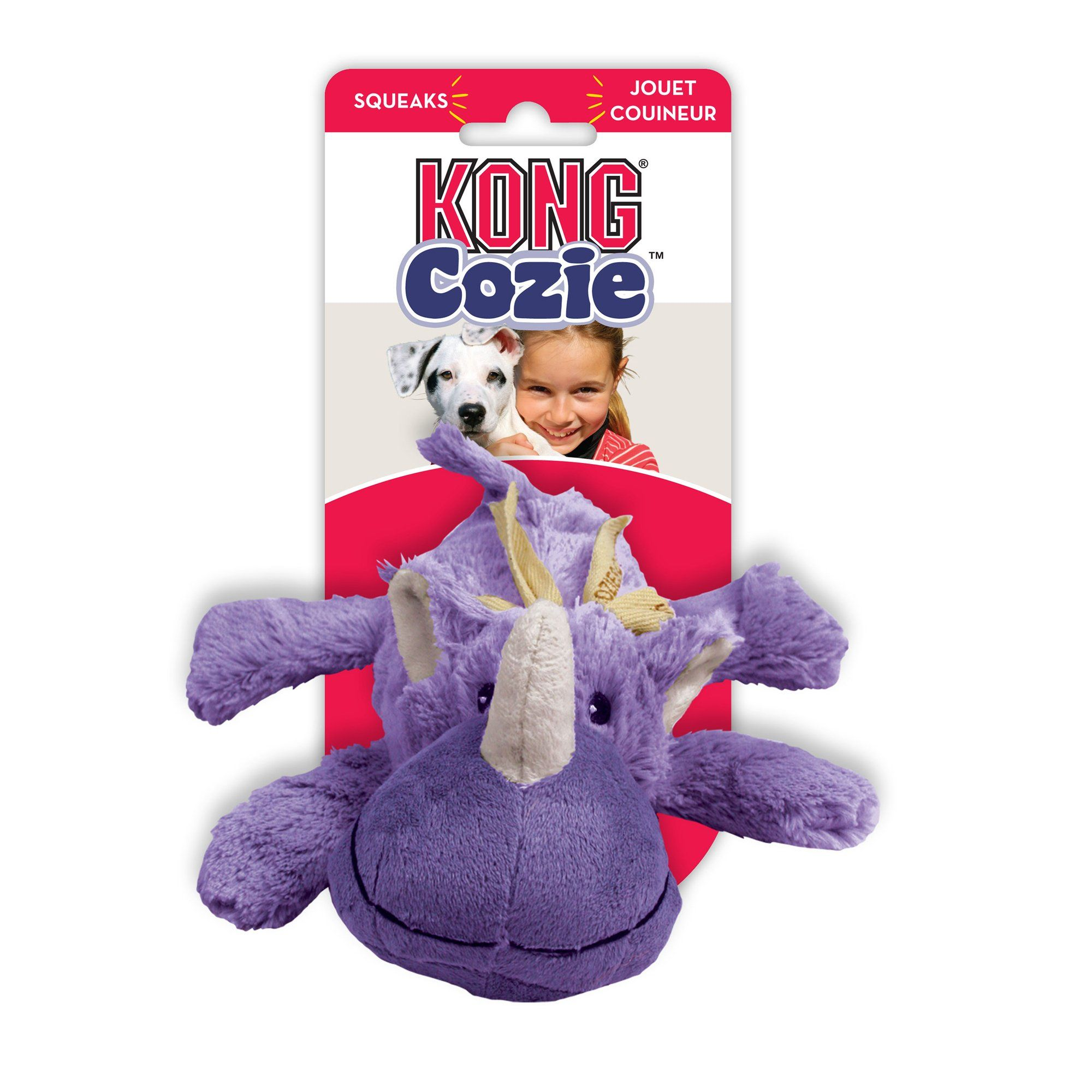 Kong Cozie Rosie Rhino Dog Toy Medium Purple Small Dog Toys