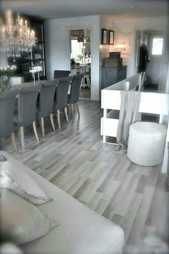 Beautiful Grey Modern Kitchen Home Decor Home Living Room Flooring