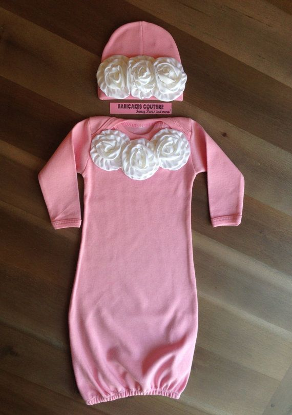 newborn girl take home outfit couture pink layette sleeper gown