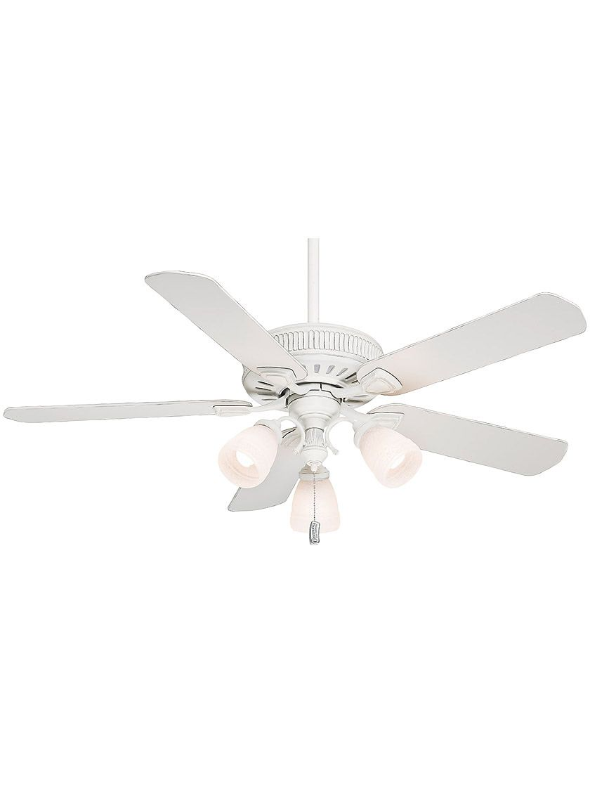 54 Ainsworth Gallery Ceiling Fan In Cottage White With And Linen Glass Shades Ceiling Fan White Ceiling Fan Ceiling Fan With Light