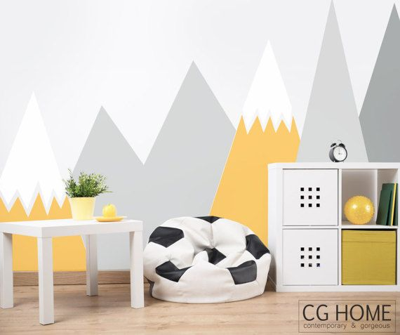 Nursery Mountain Wall Art Headboard Wall Decal Kids Wall Etsy