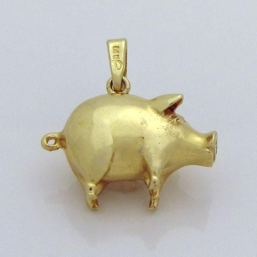 49c84eb9b Vintage 14K Gold Solid 3D Pig Charm from charmalier on Ruby Lane ...