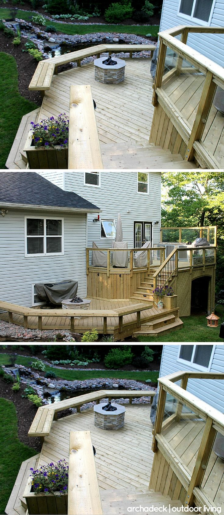 This Multilevel Wood Deck Has It All Fire Pit Outdoor Kitchen Glass Railing Built In Bench And Planter Lightin Outdoor Fire Pit Outdoor Fire Outdoor Wood