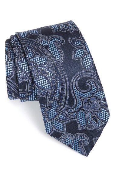 A7044 light brown blue paisley valentines day silk mens necktie cufflinks Y/&G
