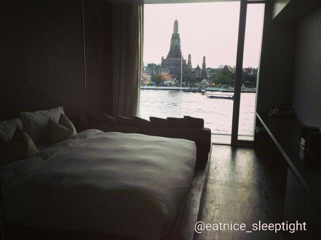 "Sleep tight at Sala Rattanakosin hotel and get a view of ""Chaophraya"" river as well as one of the most beautiful and famous temples in Thailand--Temple of the Dawn or Wat Arun @salarattanakosin  wat = temple // arun (ar-roon)=dawn ""Chaophraya"" river is the main river in Thailand formed by 4 rivers --Ping, Wang, Yom and Nan. #beautiful #best #view #hotel #stay #travel #vacation #destination #accommodation #room #temple #dawn #river #bangkok #thailand"