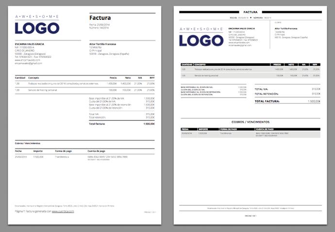 Nuevas plantillas de facturas en PDF | Diseño | Pinterest ...