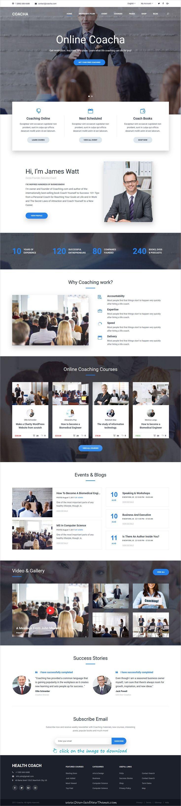 Coacha is clean and modern design 5in1 responsive #WordPress theme ...