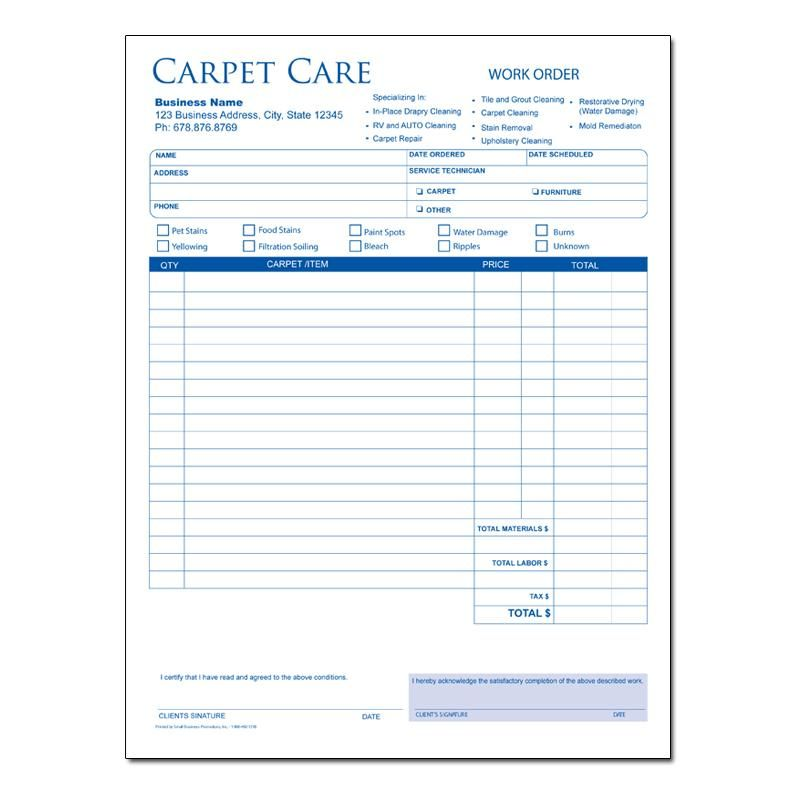Carpet Cleaning Invoice Form Carpet Cleaning Service Business - sample order form
