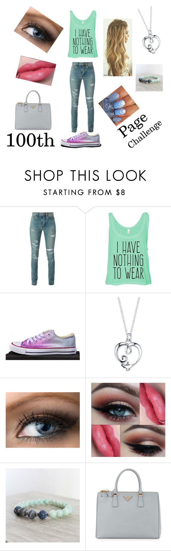 """Check The Description !! PLEASE!!"" by supershelbs ❤ liked on Polyvore featuring Yves Saint Laurent, Converse, Disney, Jenny Packham and Prada"