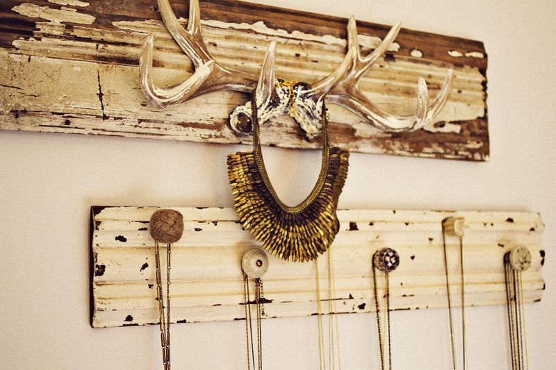 Necklace Display Idea Old Wood Door Knobs And An