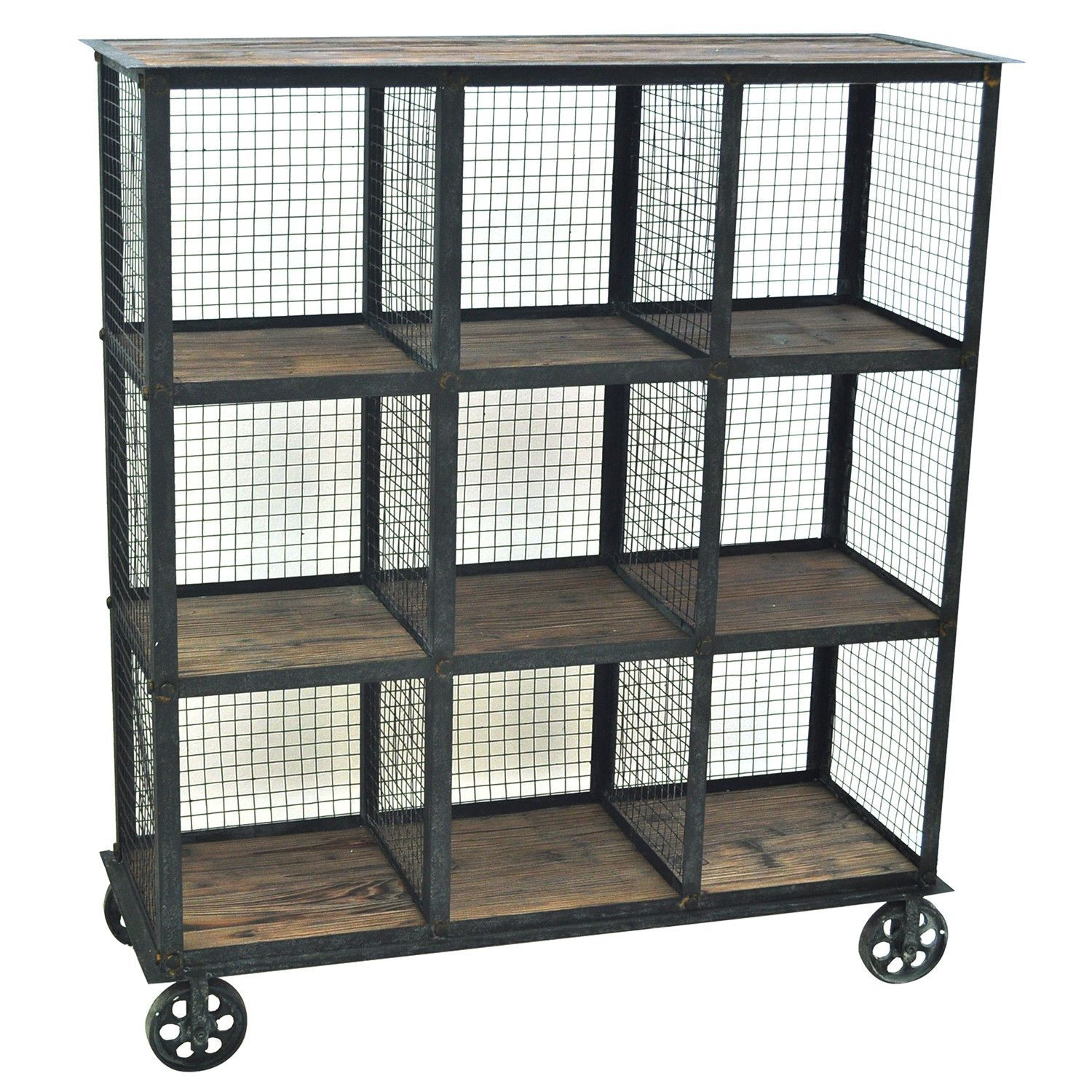 Perfect For A Library This Industrial Metal And Wood Bookcase Has Nine Square Compar Rustic Furniture Stores Industrial Bookcases Vintage Industrial Furniture