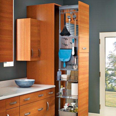 Hidden Broom Closet Small Kitchen Storage Kitchen Storage Units Closet Cleaning Supplies