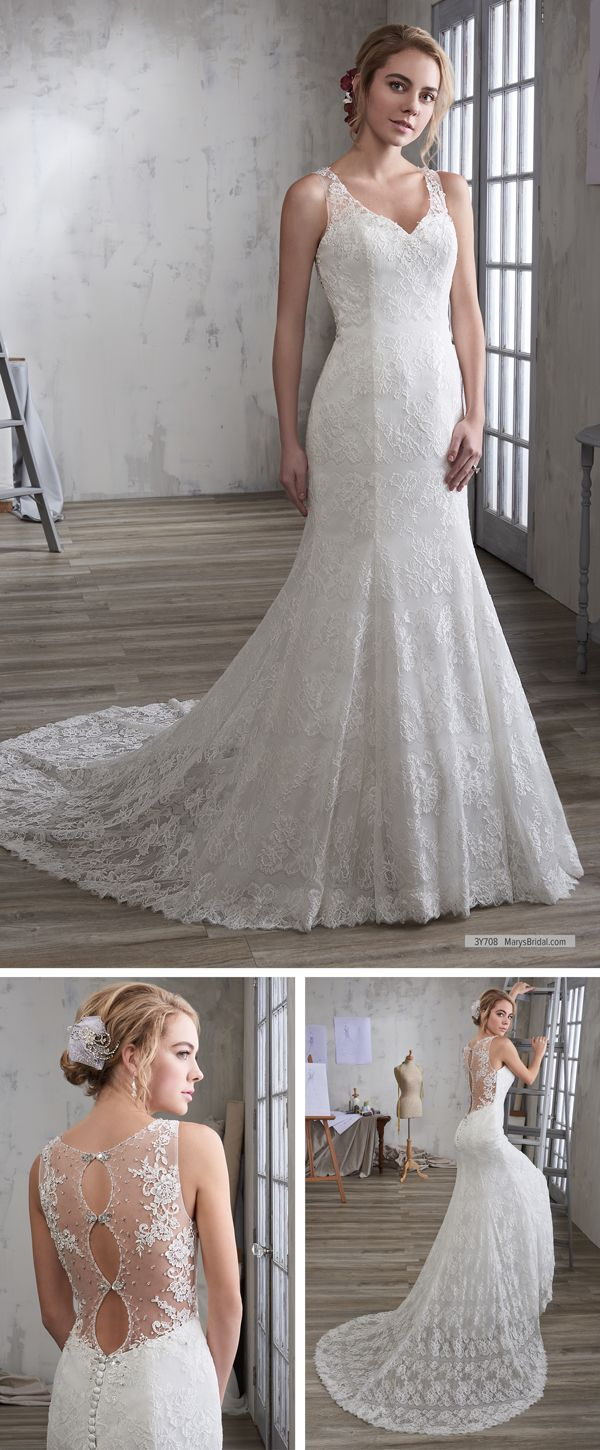 Maryus bridal style y u lace mermaid bridal gown with curved v