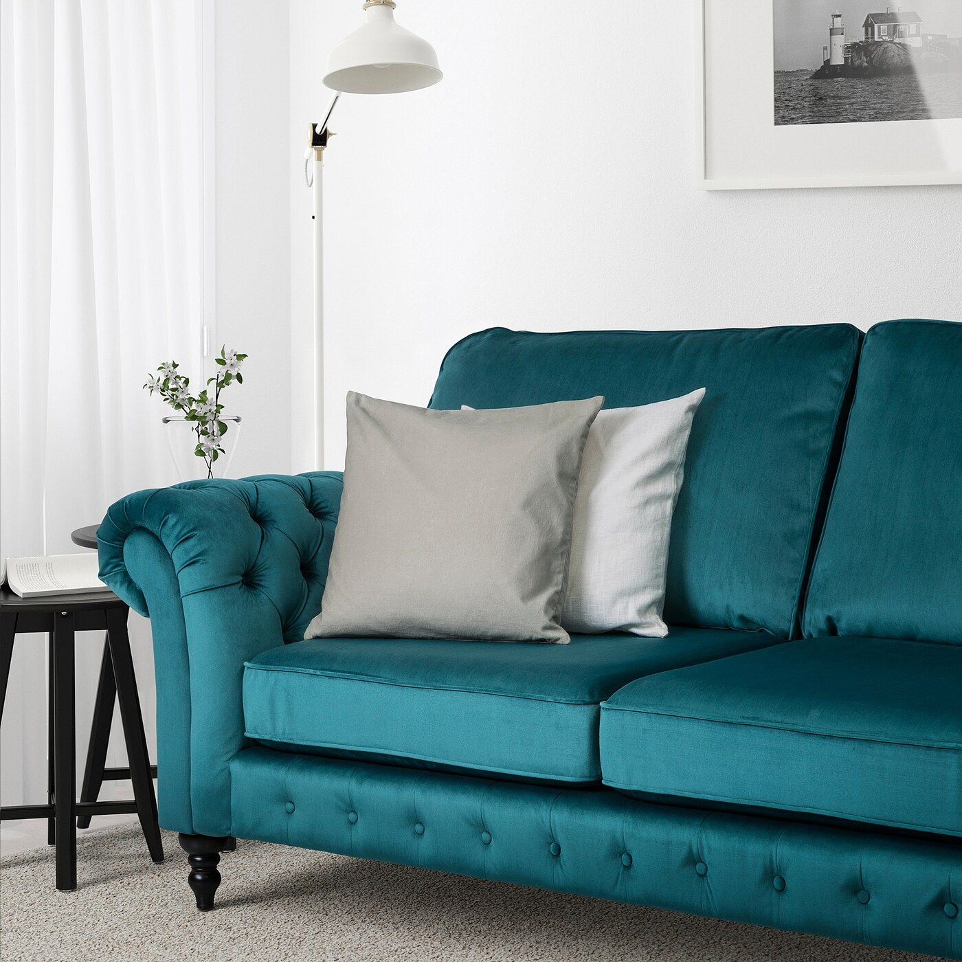 Best Grevie 3 Seat Sofa Velvet Blue Ikea Blue And Yellow 400 x 300