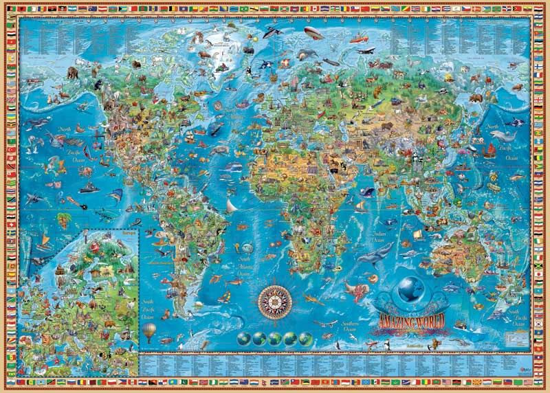 Amazing world amazing world 3000 pieces finished size x artist rajko zigic manufactured by heye this puzzle includes a poster and features a border with flags from gumiabroncs Choice Image
