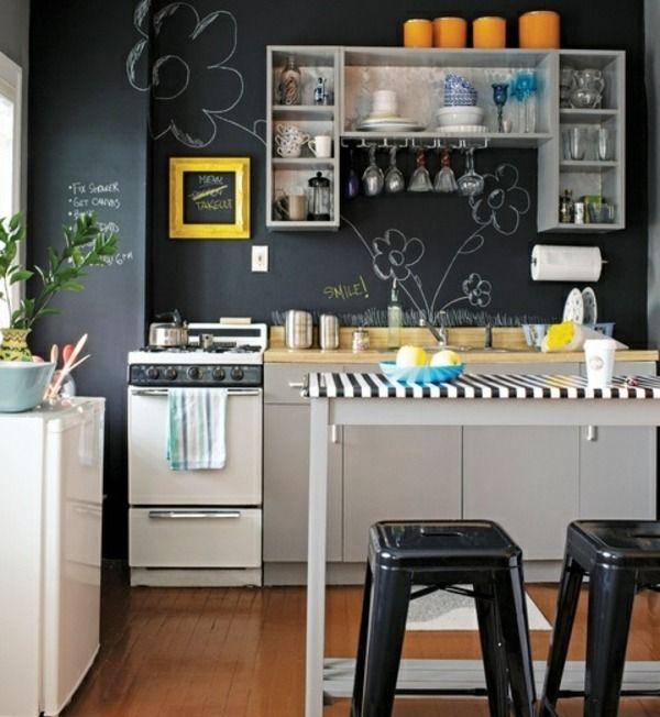 Kleine Familienküche Schwarze Taffel