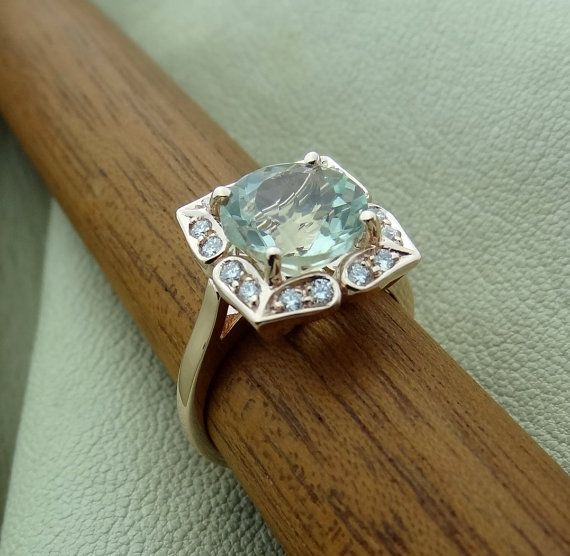 a0bc031365ac0 14K Rose, Yellow or White Gold Vintage Floral Green Aquamarine Color ...