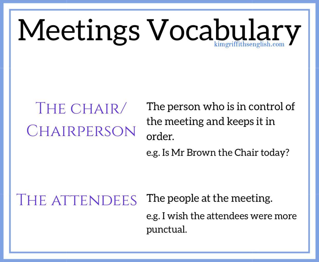 Meetings English Kimgriffithsenglish People Advanced English Vocabulary Meet English At meeting or in meeting