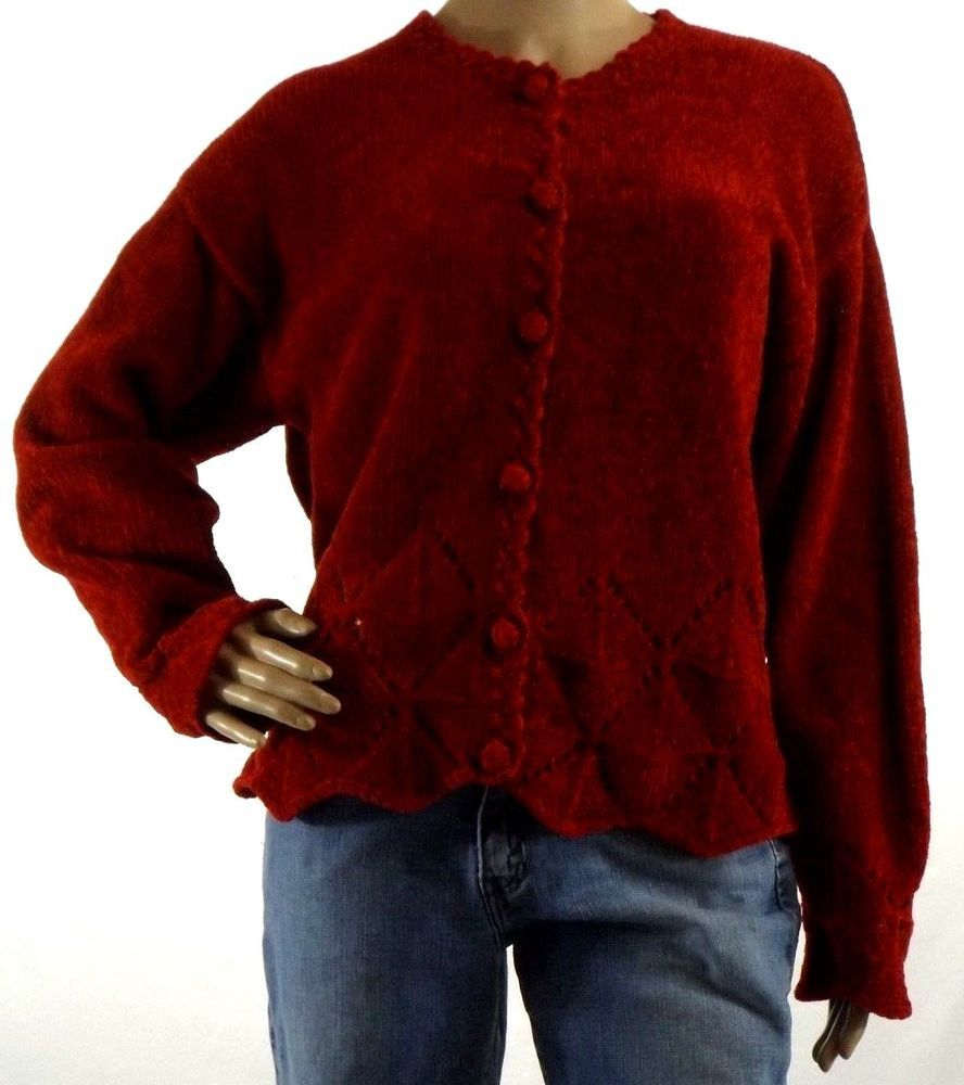 Women's Sz M Heirloom Collectibles Soft Thick Red Cardigan Sweater ...