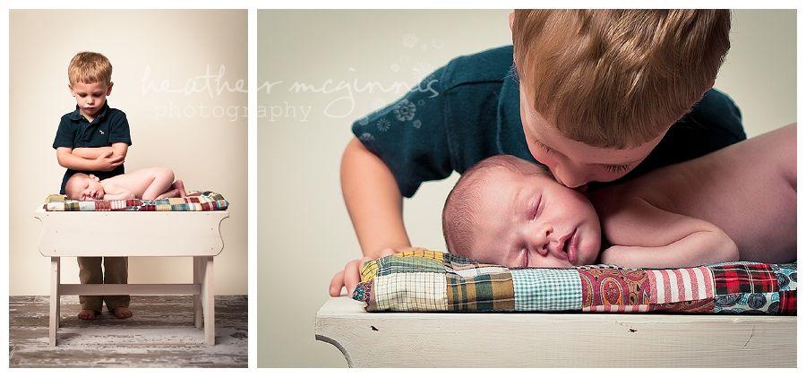 baby boy sleeping big brother toddler sibling | best greensboro newborn baby photographer