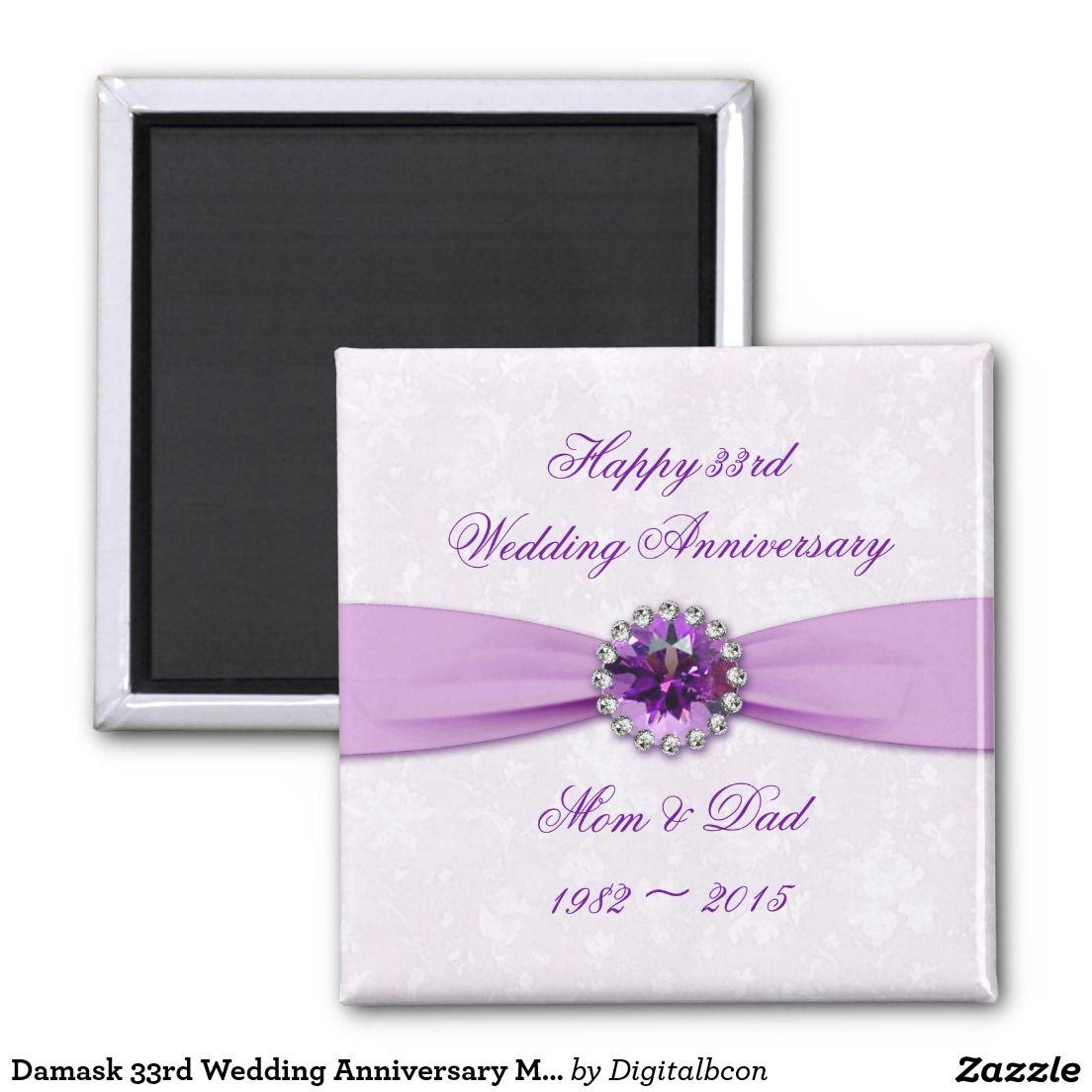 33rd Wedding Anniversary Gift: Damask 33rd Wedding Anniversary Magnet
