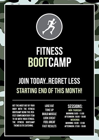 Instant Print Design Online A6 Flyer Designs Boot Camp Workout Fitness Flyer Bootcamp Quotes