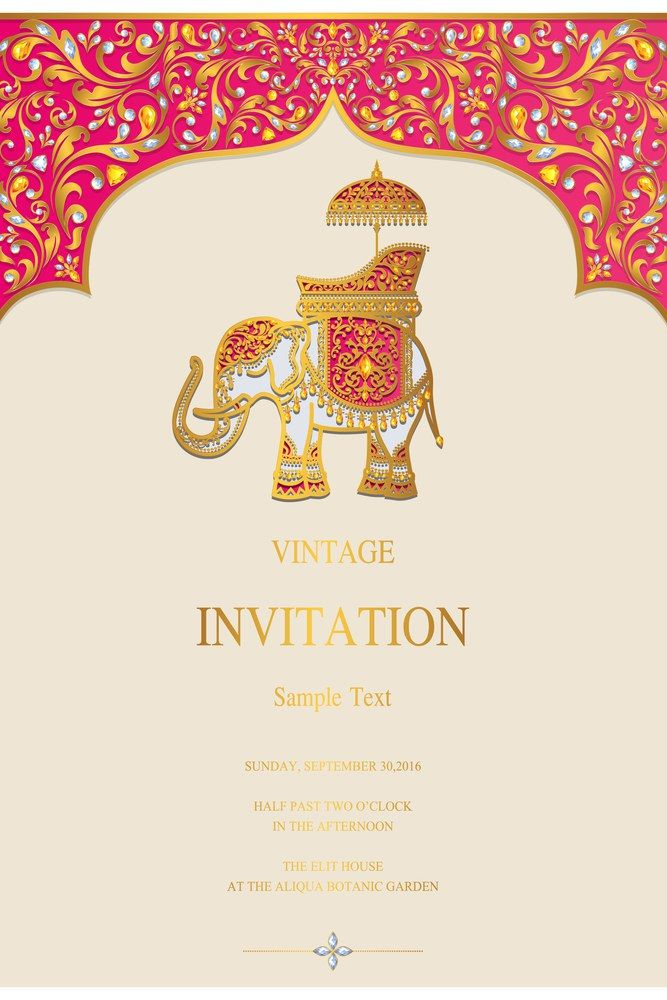Indian Invitation Card Templates With Gold Elephant Patterned And Crystals On Paper Color Wedd Indian Invitation Cards Vintage Invitations Indian Invitations