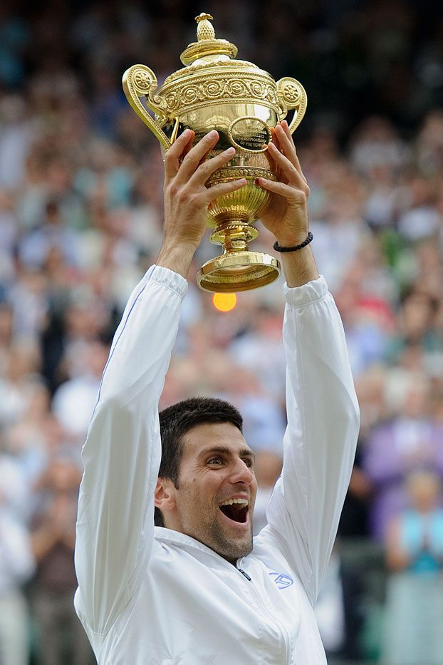 The Gentlemen S Singles Champion Novak Djokovic Srb Holding The Trophy The Challenge Cup A Tennis Professional Professional Tennis Players Wimbledon Tennis