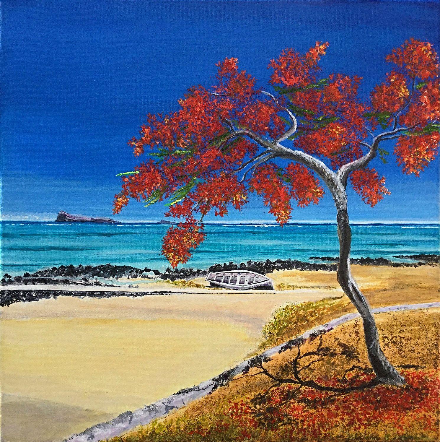 Flamboyant Tree Landscape Drawings Drawing Scenery Landscape